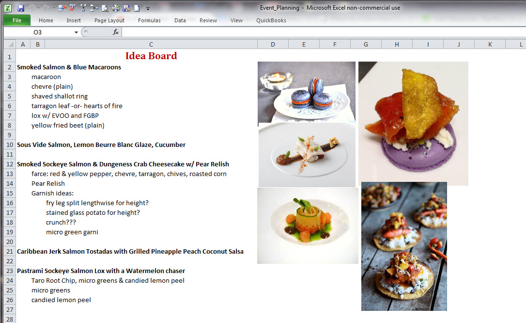 Excel Event Planning for Chefs #2