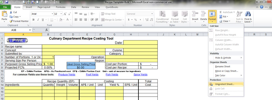 recipe templates for excel