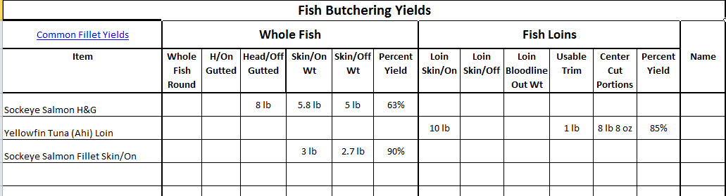 Fish Fillet Yields Form example