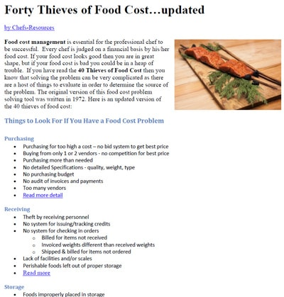 Premium Members can Download Forty Thieves of Food Cost - an updated version