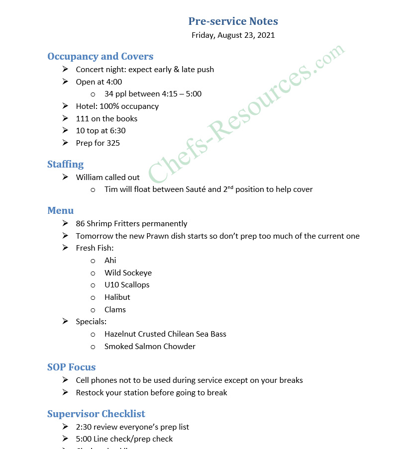 Pre-Shift Meeting Template using Word