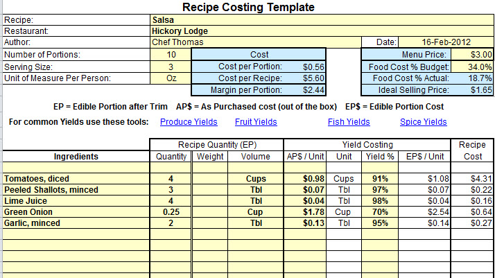 it service cost model template - plate cost how to calculate recipe cost chefs resources