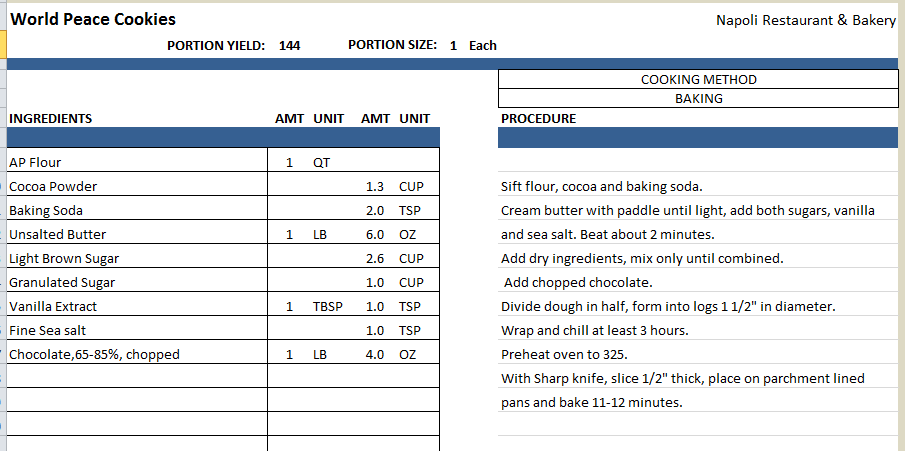 Excel Recipe Template for Chefs Chefs Resources – Recipe Conversion Worksheet