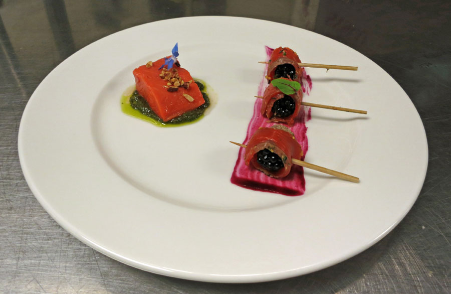Salmon Sous Vide and Blackberry wrapped with Lox