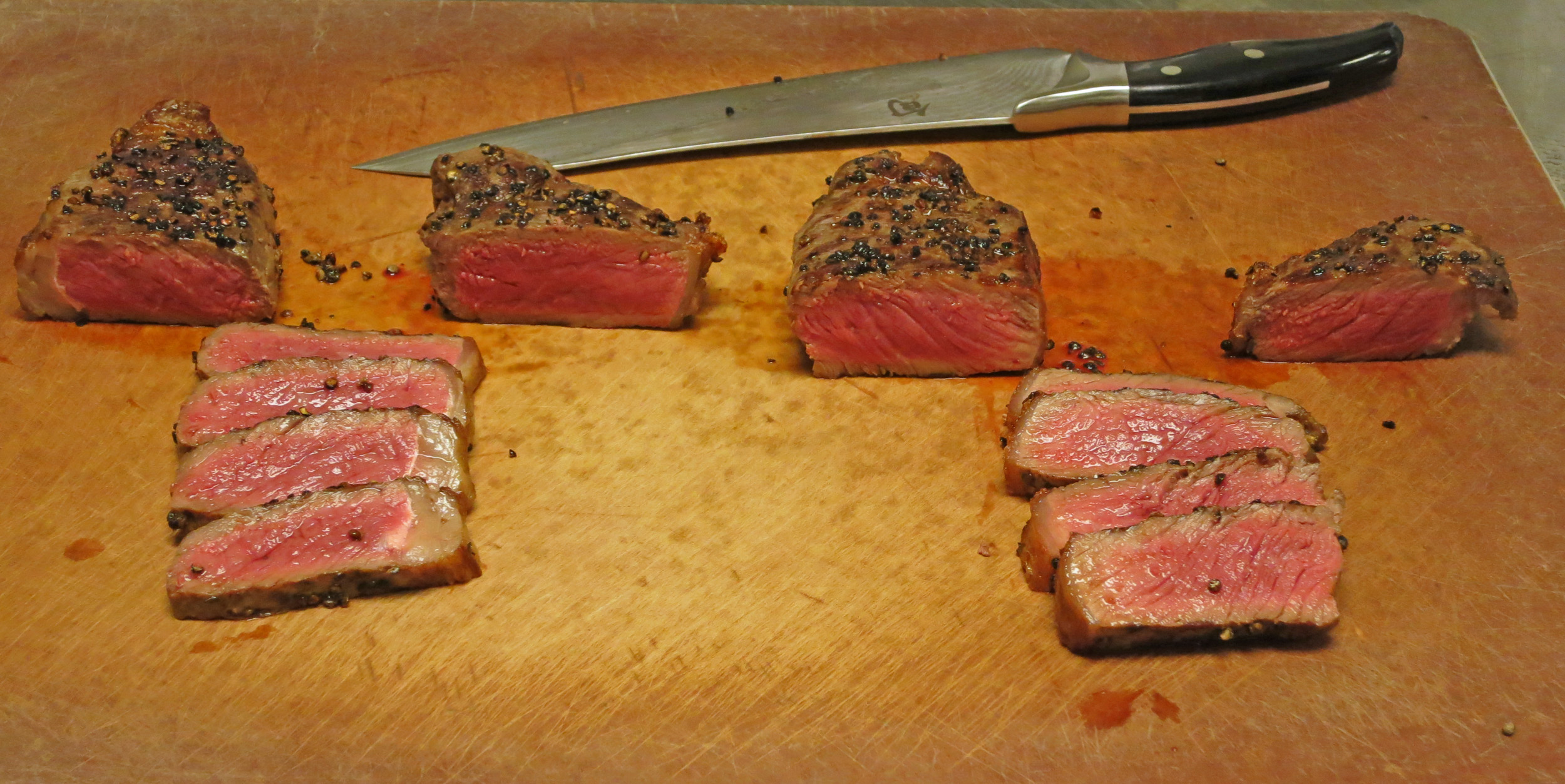 Sous Vide NY Steaks sliced