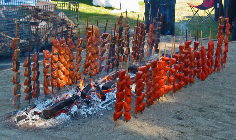 Traditional Salmon on a Stick by Chef David of Tulalip Resort